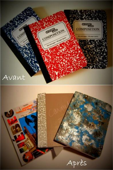 DIY - carnets customisés avant-après