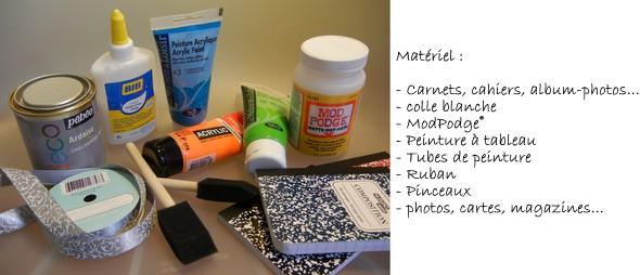 DIY - Carnets customisés - matériel