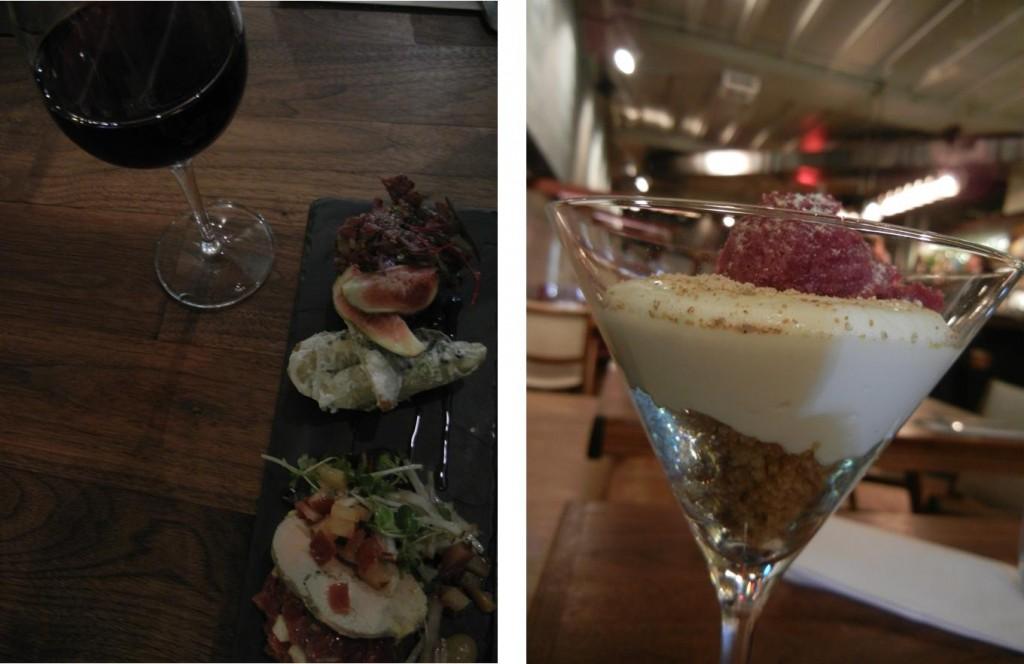 Duo de tartare et dessert avec sorbet aux betteraves