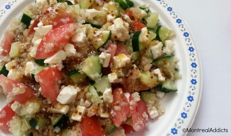 salade quinoa, tomate, concombre, feta Blog Montreal Addicts