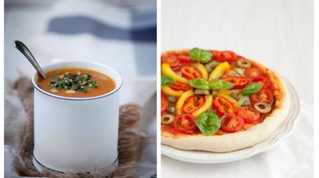 soupe et pizza vegan