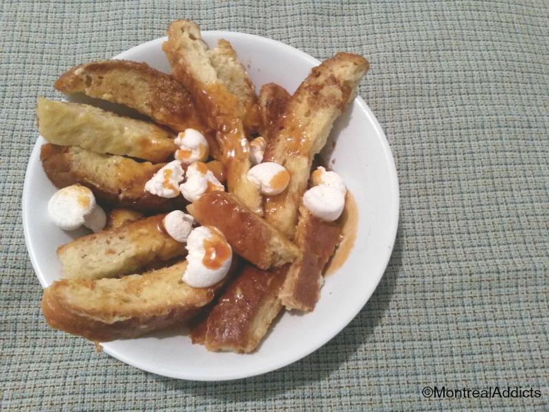 poutine dessert au pain doré caramel et guimauves - Blog Montreal Addicts