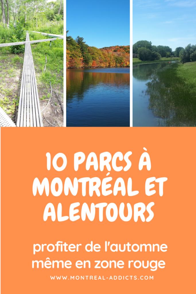 Parcs à Montréal et alentours - zone rouge - covid
