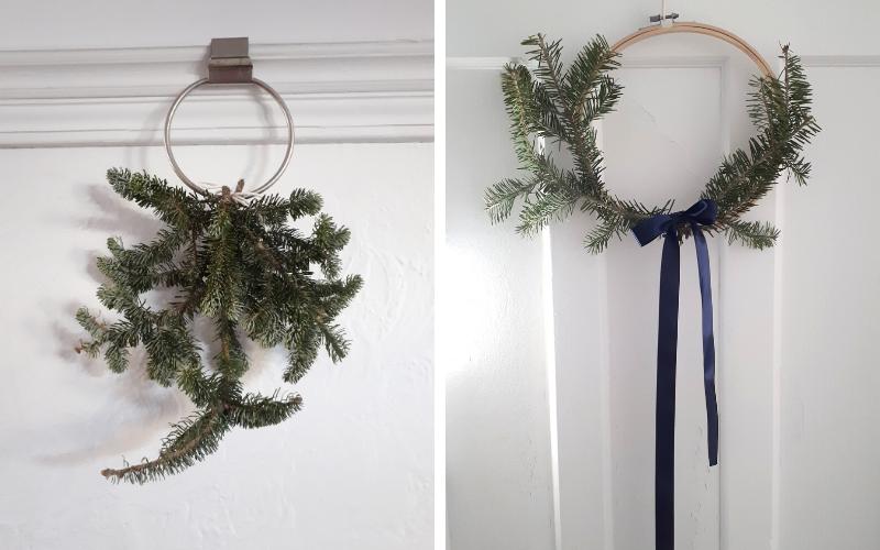 exemples de couronnes avec restes de sapin de Noël